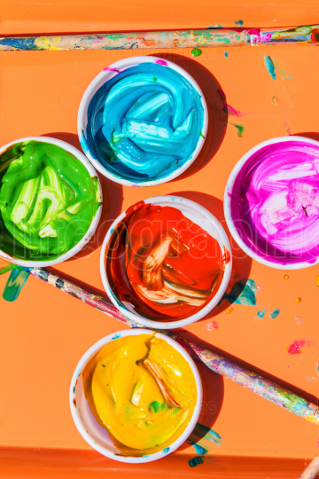 Colorful Paints Sit In Bowls For Kids To Paint With