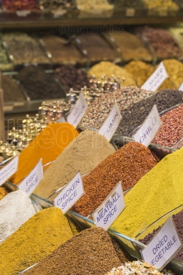 Colorful spices at spice bazaar in Istanbul, Turkey