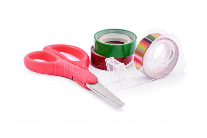 Colorful washi tapes and red scissors