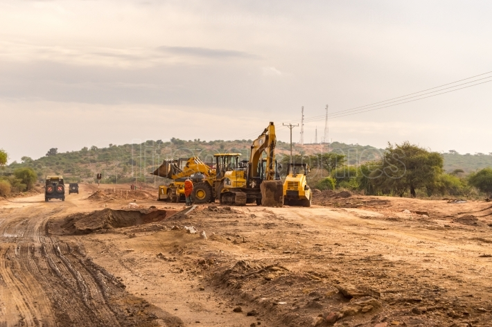 Construction machinery on the construction of a new road at the