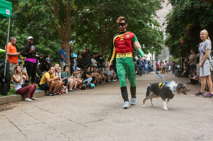 Contestants Wearing Batman And Robin Costumes Participate In  Doggy Con