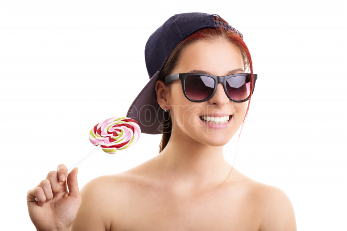 Cool girl with lollipop