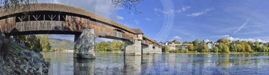 Covered wooden bridge between stein and bad s?ckingen,  aargau, switzerland and baden-w?rttemberg, germany  and switzerland