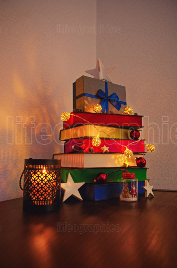 Cute Christmas tree made of colourful books