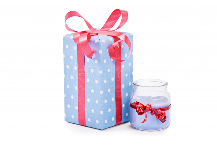 Cutely wrapped gift and candle