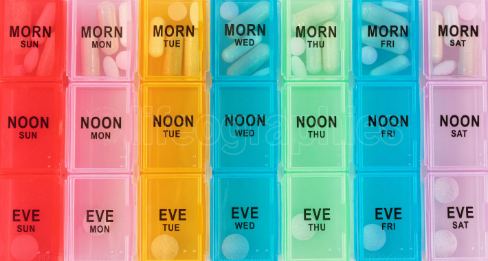 Daily reminder container filled with prescription and alternativ