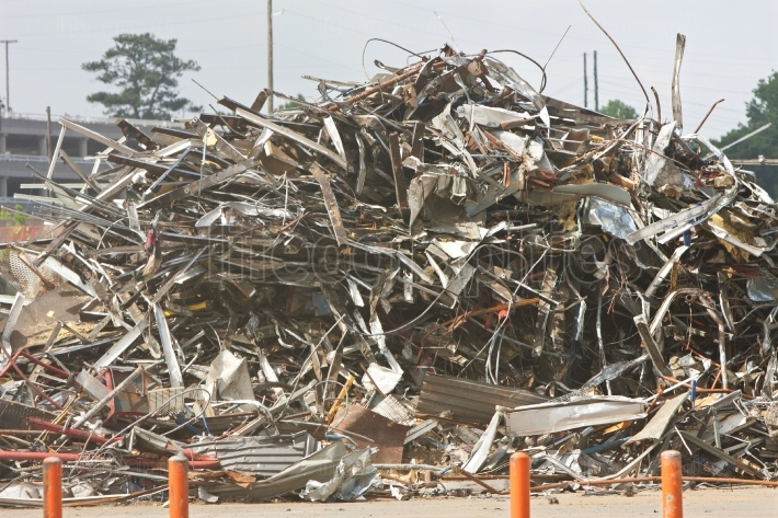 Debris And Twisted Metal Are Piled High At Demolition Site