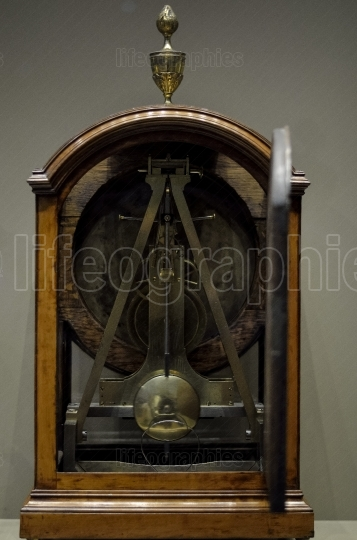 Different antique clocks from clock room  from British Museum. London