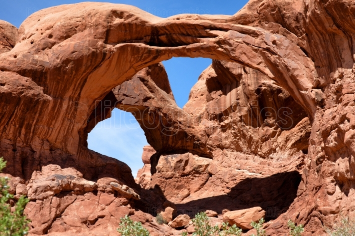 Double arch in Utah during summer