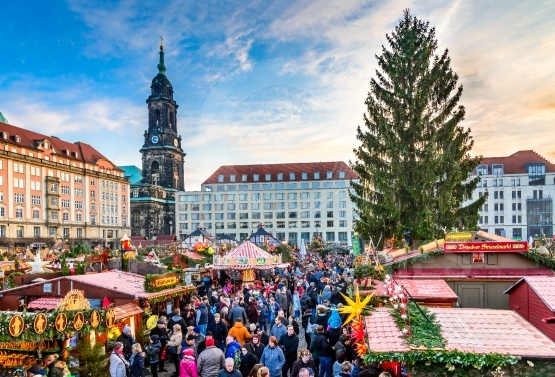 Dresden, Germany -  Striezelmarkt on Christmas