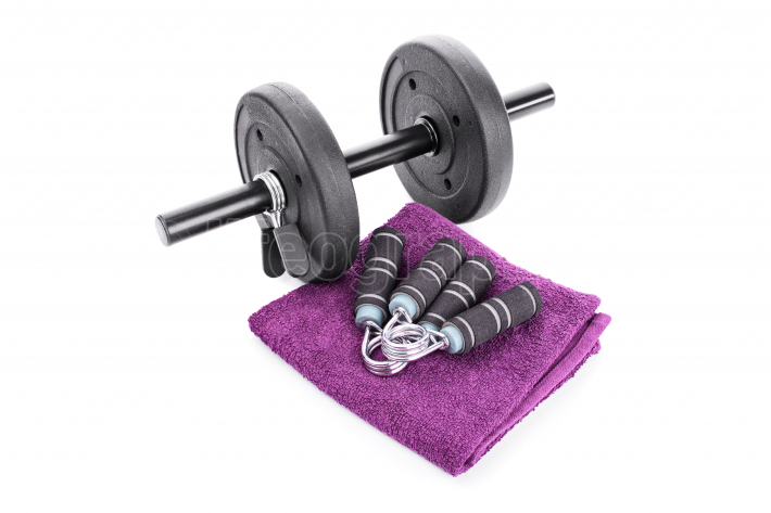 Dumbbell, hand grips and a towel