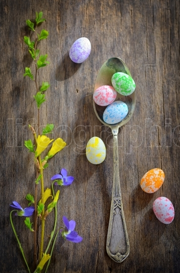 Easter wooden table setting