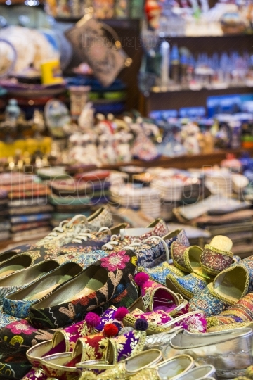 Eastern bazaar - handmade shoes. Image of selling point at Istan