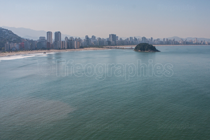 Elevated Perspective Shows High Rise Buildings Along Brazilian Coastline