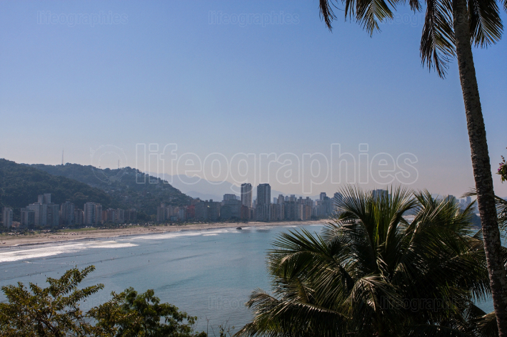 Elevated Wide Shot Of Spectacular Shoreline At Sao Vicente Brazil