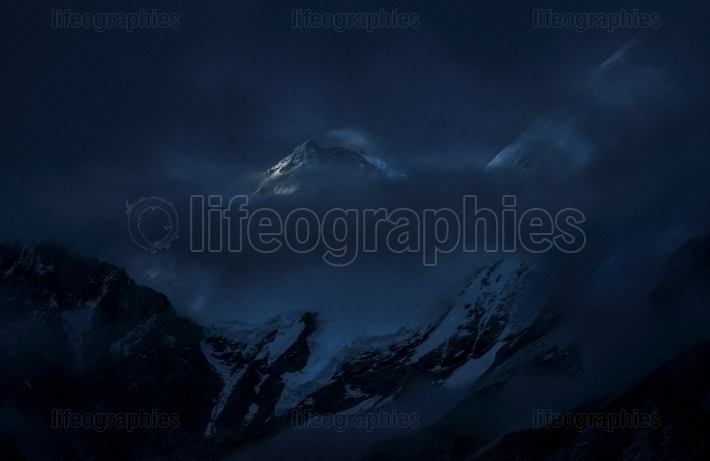 Everest mountain peak by night