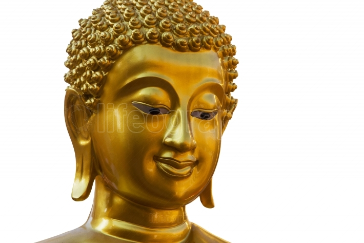 Face buddha statue on isolate white background