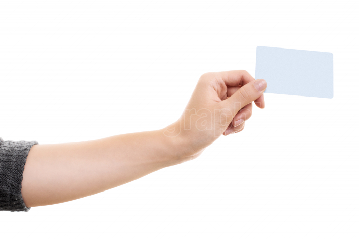 Female hand holding a blank white card