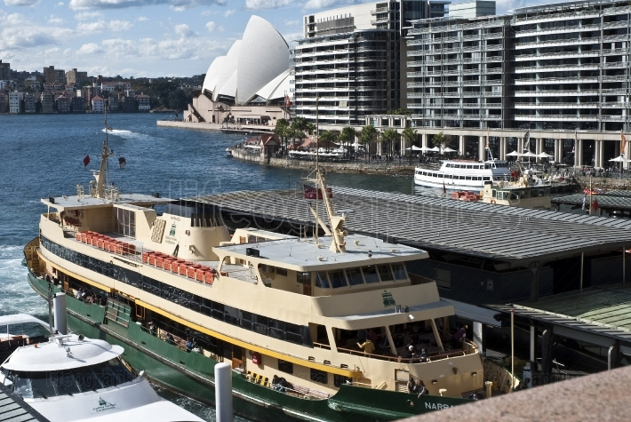 Ferries at the Circular quay with Opera house in background