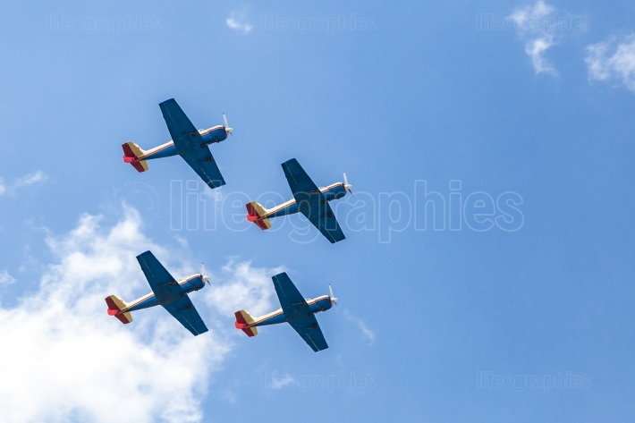 Formation of four planes in the air