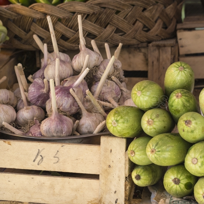 Fresh onion and garlic for sell in morning market, Bishkek, Kyrg