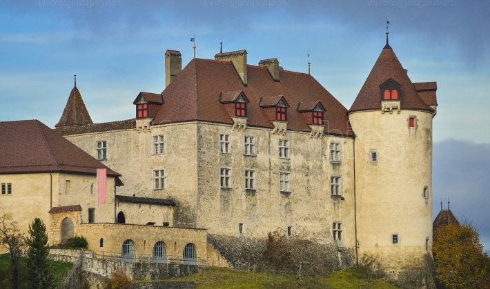 Front view of gruyeres castle