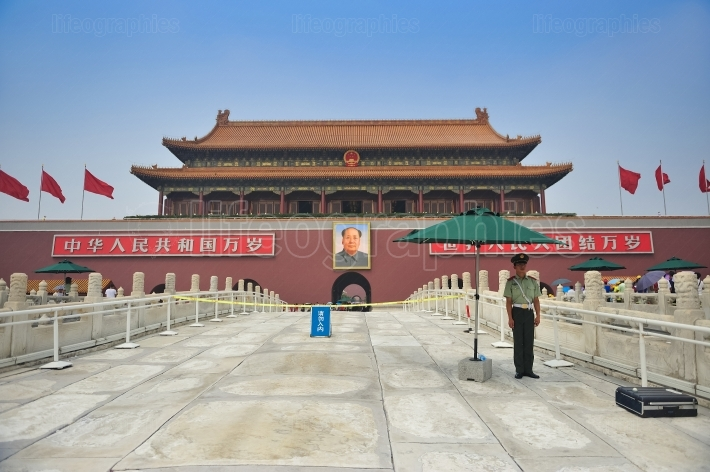 Frontal entrance of forbidden city. beijing. china