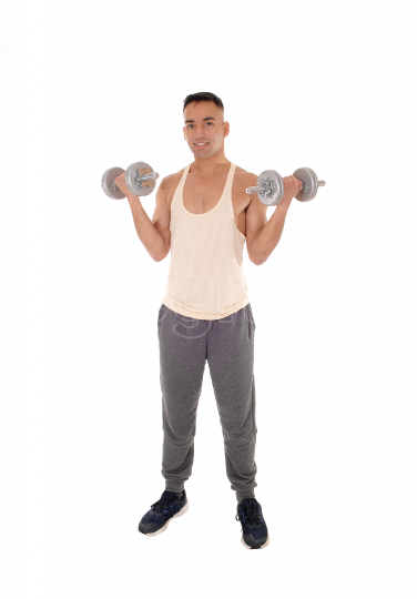Full body image of a man with two dumbbells