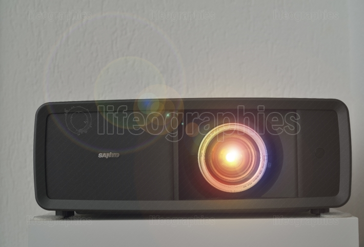 FULL HD Video projector with lens flare
