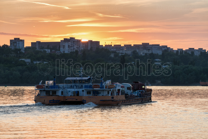 GALATI, ROMANIA - August 11, 2019: Ferry boat