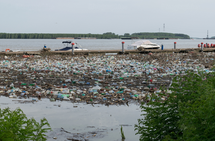 Galati, Romania - June 29, 2019 Plastic pollution