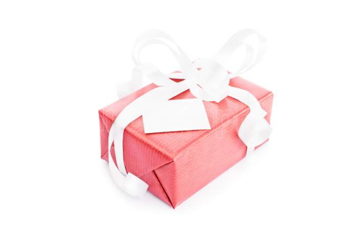 Gift box with a greeting card