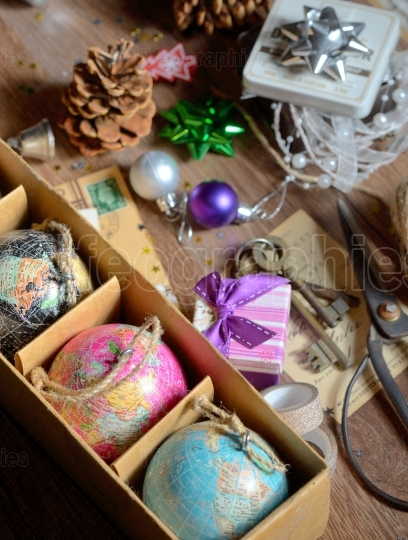 Gifts and vintage christmas ornaments