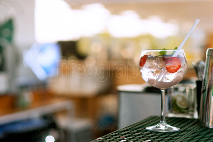 Gin tonic strawberry summer at the bar