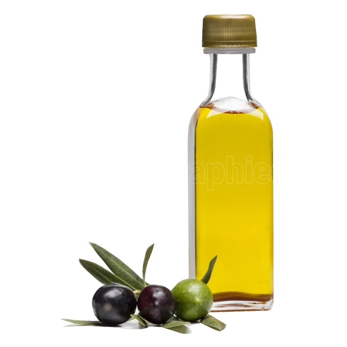 Glass bottle of virgin olive oil