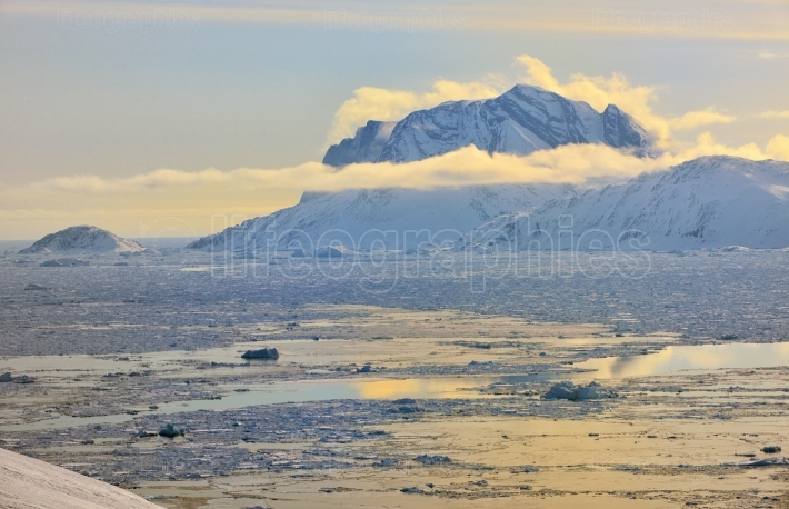 Greenland Fjord with Sea Ice