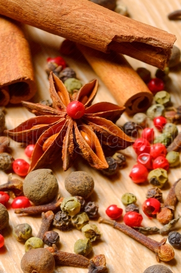 Group of spices ,cinnamon, pepper and anise star