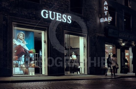 Guess store in Florence, one of the most luxurious shopping district in the world