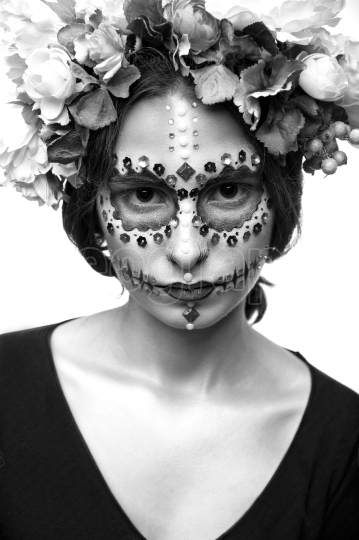 Halloween Model with Rhinestones and Wreath of Flowers isolated