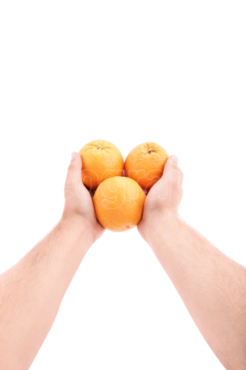 Handing out oranges