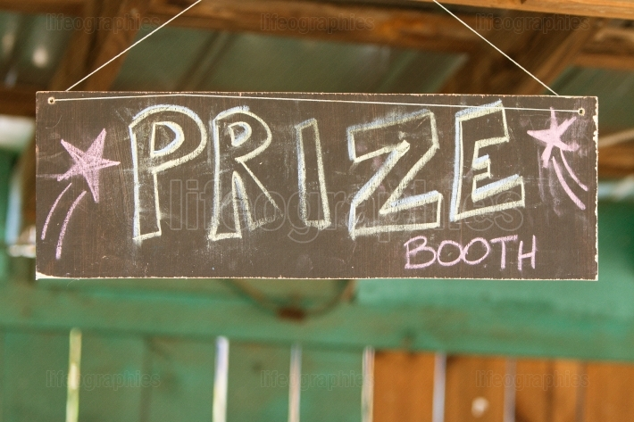 Handmade Chalk Sign Directs Carnival Patrons To Prize Booth