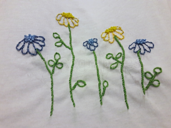 Handmade embroidery with flowers pattern