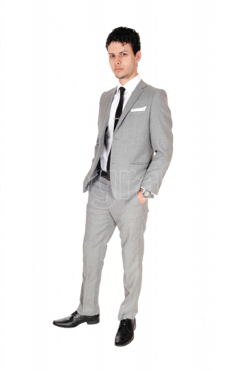 Handsome young man standing in gray suit