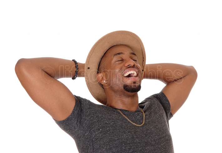 Happy laughing African American man