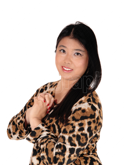 Happy lovely Chinese woman with black hair