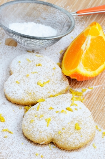 Home cookies with sugar and orange