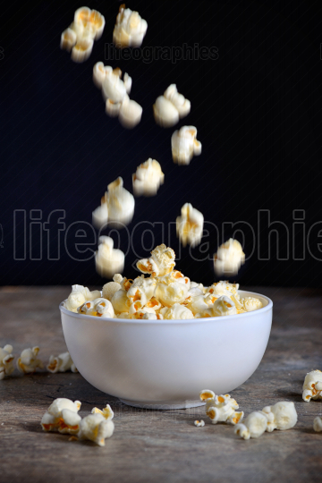 Homemade Popcorn on table