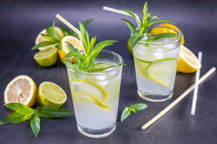 Homemade refreshing summer lemonade with mint in a glas