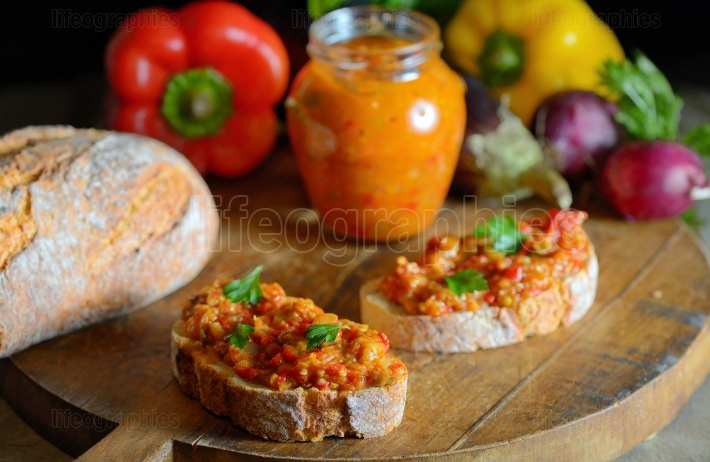 Homemade vegetable salad and bread