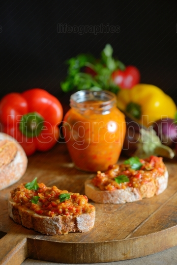 Homemade vegetable salad and slice of bread